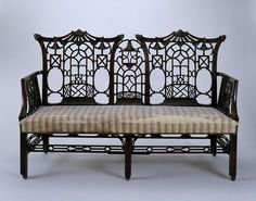 British Settee – This is a perfect example of the Chinoiserie style, popular in England in the mid century. The style has come to be associated with the cabinetmaker Thomas Chippendale, but was adopted by many other workshops. Furniture Styles, Fine Furniture, Furniture Design, Country Furniture, Geek Furniture, Furniture Makers, Pallet Furniture, Furniture Ideas, Outdoor Furniture