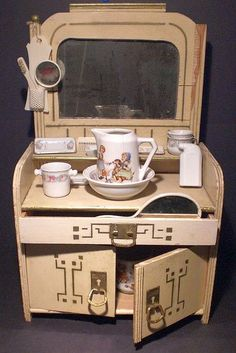 Art Deco Toy Wash Stand with Accessories.