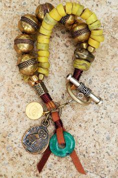 Tribal Charm Bracelet: Exotic Tribal-Style Chunky Yellow and Brass Charm Bracelet