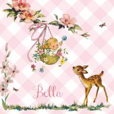 Snoezig #geboortekaartje met retro hertje