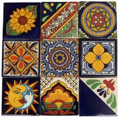 "9 Mexican Hand Painted Custom Talavera Tile Set 4"" X 4"""