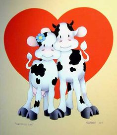 Whimsical Art   Stu Moskowitz Color Study UNFETTERED LOVE Cows - Whimsical Art
