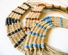 Woven tribal necklace, native style, made of multi strand woven hemp cord and mini tube ceramic Greek beads. Availble in three colors: indigo blue, black and cinnamon brown. Woven part circumference length: 7.5 - 19 cm. Width: 1 1/8 -3cm. Total length: 18 - 46 cm. A unique design, fresh and colorful, natural, perfect everyday accessory, for tribal jewelry lovers. Also an eco-friendly gift for people who love nature and ethnic style.  ★★★see my other bohemian jewelry: https://ww...