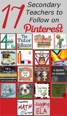 Top Secondary Teachers to Follow on Pinterest plus a Freebie! :)