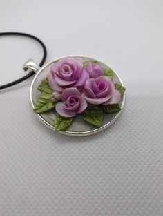 Polymer Clay Roses- shades of pink romantic necklace by NadoandLola on Etsy