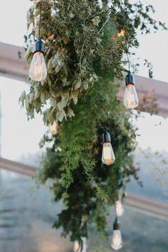 foliage garland with modern festoon lighting