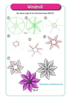 Windmill Tangle, Zentangle Pattern by Alena Light and Ina Sonnenmoser Doodle Patterns, Zentangle Patterns, Flower Patterns, Doodle Borders, Zantangle Art, Zen Art, Zentangle Drawings, Doodles Zentangles, Tangle Doodle