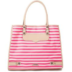Striped Canvas Diamond Tote ($195) ❤ liked on Polyvore