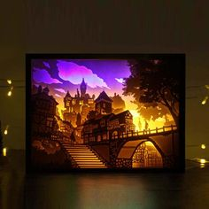 Light and shadow paper carving lamp castle living room bedroom head decoration 3 DIY creative simple modern warm romantic LED Shadow Box Kunst, Shadow Box Art, Neli Quilling, 3d Paper, Paper Crafts, Origami Paper, Paper Cutting, Shadow Light Box, Licht Box