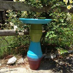 Bird bath and feeder out of terra cotta pots