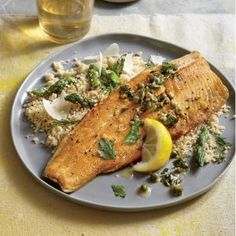 Crispy Trout with Warm Parsley-Caper Vinaigrette | CookingLight.com #myplate #protein
