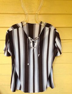 Vintage Mod Zig Zag Striped Short Sleeve Women's Shirt