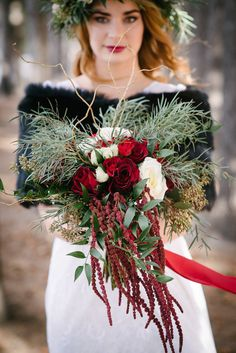 Gold and marsala winter wedding inspiration. Marsala winter wedding bouquet. Photographs by Grace Marsala and Gold Wedding Inspiration