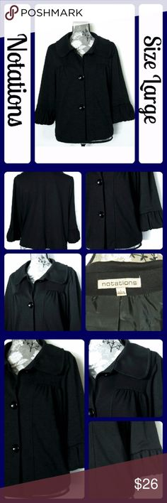 """Sz Large Black Cropped Swing Style Soft Jacket EUC, Black jack feels like a very soft, very think t-shirt fabric. it has adorable gathers across the bust and around the sleeves. The A style cut gives it a flowy fun swing! It is perfect for those cool fall days! It is in new condition. Length is 22"""", underarm to underarm is 25"""", arm length is 18"""" From a smoke-free home (T64) Notations Jackets & Coats Blazers"""