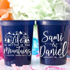 Life Is Better In The Mountains Stadium Cups - Custom designed and printed, personalized 16 oz. plastic stadium cups help you Celebrate Happy even before your event starts. Perfect for any wedding or event!  - Yippee Daisy  #partycups #weddingdecor #bacheloretteparty