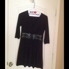 Tunic, black, belted Black Tunic with belted detail, A line VENUS Tops Tunics
