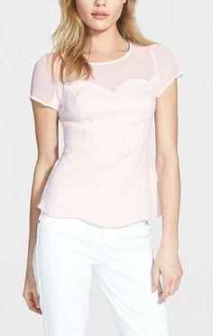 So cute! Blush Pink Sweetheart Illusion Jacquard Top
