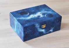 Jewelry box Cosmic Trinket blue Keepsake box Storage by MagicTwirl Wooden Box Crafts, Painted Wooden Boxes, Painted Jewelry Boxes, Hand Painted, Kids Jewelry Box, Jewellery Boxes, Kawaii Accessories, Tea Box, Keepsake Boxes