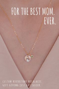 Baby Name Necklace - Mom Necklace - Mom Gifts - Disc with Birthstone Charm Necklace - Birthdate Necklace