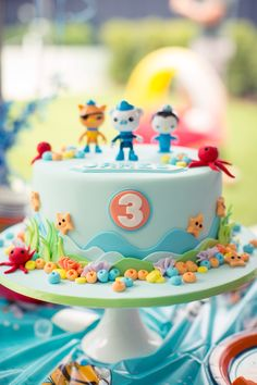 Octonauts Birthday Cake for three year old Octonauts Party @lalirraphotography