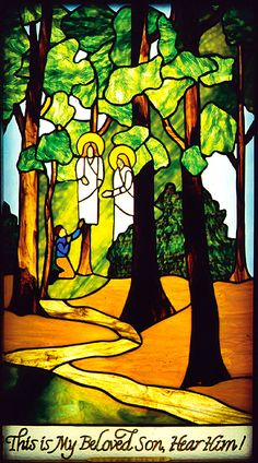 Joseph Smith's First Vision, by D. Carl Danielson, leaded stained glass, 1989.