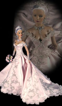 Tonner doll |  beautiful pink wedding gown