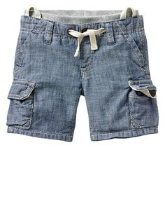 Pull-on chambray cargo shorts Product Image