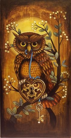 """""""Key to my Heart"""" Limited Edition Print ~ Kerry Evans Art ~ It's a Colorful Life ~ #owl; lock; key;"""