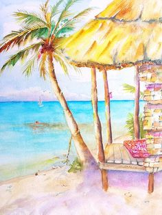 Tropical Beach Hut original watercolor painting by Carlin Blahnik. A thatched roof beach hut on a sandy tropical beach with palm trees overlooking the turquoise ocean water. A sailboat and birds are seen far out to sea. Shallow sandy turquoise blue sea invites swimming and snorkeling. Inside the thatched vacation bungalow we see a bit of a colorful mat for comfort and relaxation.  www.CarlinArt.com