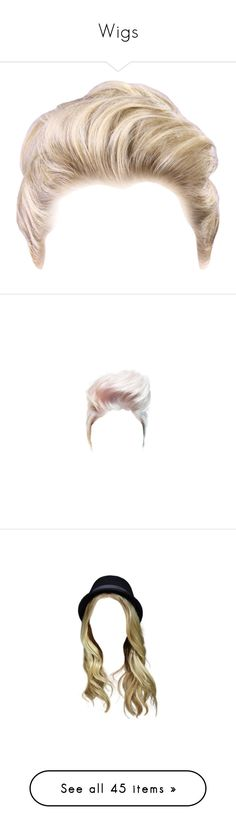 """""""Wigs"""" by kari-c ❤ liked on Polyvore featuring hair, dolls, doll parts, body parts, doll hair, doll parts - hair, wigs, hairstyles, embellishment and detail"""