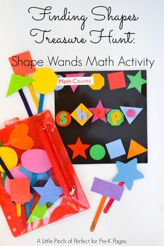 Create shape wands and locate all the matching shapes throughout your classroom or house; for preschool, pre-k, and kindergarten. Preschool At Home, Preschool Classroom, Kindergarten Math, Preschool Crafts, Preschool Shapes, Reggio Classroom, Montessori Preschool, Preschool Curriculum, Pre K Activities