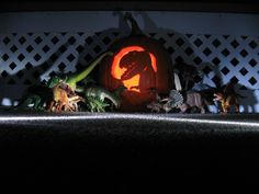 Spooky Wild Safari dinosaurs perfect for a great Halloween photo taken by Elaine Miller.