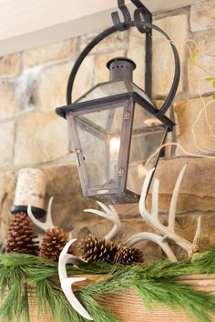 Outdoor Lantern above mantel