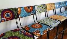 African wax fabrics and its presence in fashion and interior design. African Interior Design, African Design, Funky Furniture, Painted Furniture, Luxury Furniture, African Furniture, African Home Decor, African Fabric, African Prints