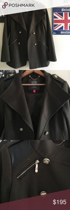 Vince Camuto double breasted military coat Super cute wool olive green coat with gold and leather details! Vince Camuto Jackets & Coats