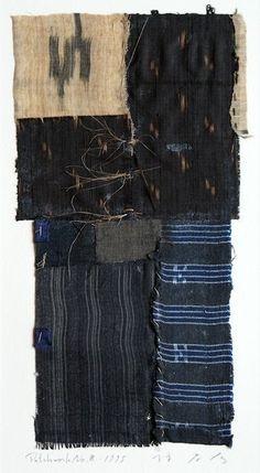takahikohayashi:  ARCHIPELAGO-2 No.8collage,patchwork ,Okinawan antique fabric with the artist original iron box 37x45x4.5cm 林孝彦 HAYASHI Takahiko 1995