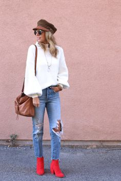 3 WAYS TO STYLE A WINTER WHITE SWEATER - Jaclyn De Leon Style + cozy dolman sleeve sweater + red boots + camel moto cap + distressed denim + casual street style look + fall outfit inspiration + how to style a look + holiday white sweater