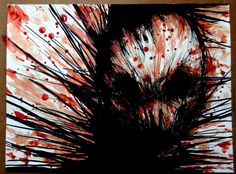 Maxime Taccardi, Another variation on the serie Nekro (pen, my blood and saliva, 25X33cm)