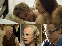 """Brad Pitt e Cate Blanchett em O CURIOSO CASO DE BENJAMIN BUTTON (The Curious Case of Benjamin Button). 1-""""Não me lembro do nome dela, a verdade é que as pessoas que mais marcam nossas vidas, são as que esquecemos os nomes."""", 2-"""" Nossas vidas são definidas por oportunidades, mesmo as que perdemos. """", 3-""""A vida só pode ser compreendida olhando para trás, mas só pode ser vivida olhando para frente"""""""