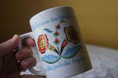 Vintage Berggren Ceramic Mug, Colorful Floral Print, Creamy White, Swedish, Scandinavian Design, Country Cottage, Mod, Mid Century by BrindleDogVintage on Etsy