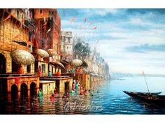Buy Benaras III - original artwork by Paramesh Paul - ArtOfColors offer contemporary and modern art . Find the best art you love on ArtOfColors. Sketch Painting, Watercolor Artwork, Painting Art, Watercolour, Watercolor Landscape, Rishikesh, Artwork Online, Online Painting, Indian Art Paintings