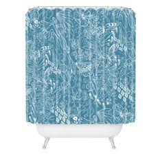 $90 Geronimo Studio Secret Garden Blue Shower Curtain | DENY Designs Home Accessories