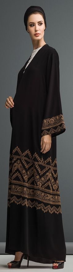 Mauzan abaya Dubai..Work  : Kashmiri Design Embroidery Fabric : Black Crepe