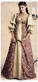 Emeralds dress given to her in Rivendell.  (Medieval Wedding Dress PATTERN Renaissance Bridal Gown   eBay)