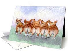 Five Corgi dogs go for a walk card (893728) by Susan Alison