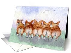 Five Corgi dogs go for a walk card (893728) by Susan Alison