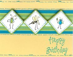 My card for SC113.  Designed for a 3-year old boy.  Doodled around bugs and on background with Taken w/ Teal marker.  I feel like it still needs something though - but what??
