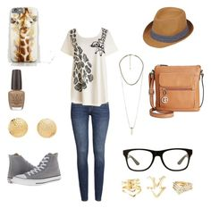 """""""Wild Life Wednesday: Giraffe Style"""" by kriissy-thomas ❤ liked on Polyvore featuring Black Rivet, H&M, Charlotte Russe, Converse, OPI, Jeepers Peepers and Giani Bernini"""