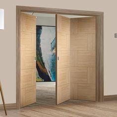Thrufold Ravenna Oak Flush Panel 2+1 Folding Door - Lifestyle Image - #home #interiorstyle #doors