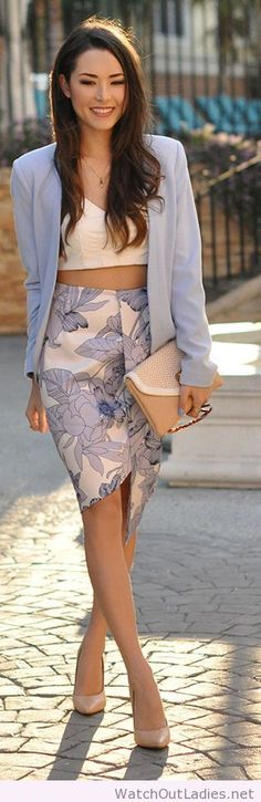Hapa Time I love the floral skirt, the crop top and the blazer